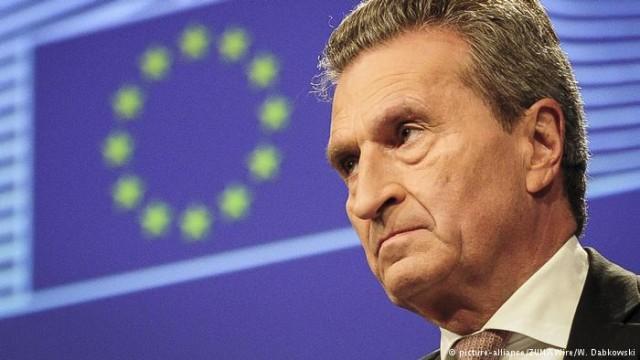 Еврокомиссар Эттингер требует противодействия усилению влияния Китая в ЕС